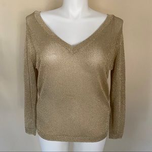 Zara gold metallic knit sweater